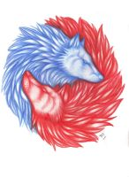 wolves blue and red by Suenta-DeathGod