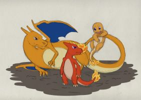 Sketch-a-day Day 8:Charmander Charmeleon Charizard by TheRecurrent