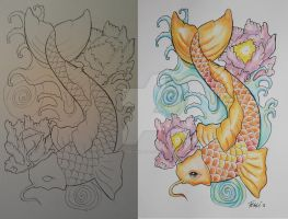 Tattoo design Koi fish by ThereseDrawings