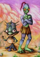 Oddworld - Munch and Abe by Lurking-Leanne