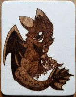 Woodburning - Birthday Present - Baby Toothless by Stepher17