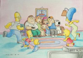 Family Guy and The Simpsons Drawing by billyboyuk