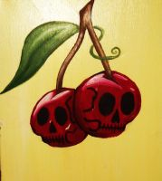 Skull Cherries Painting by your-mom--burn