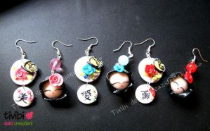 FiMo ~ Japan Doll and Kanji earrings by tivibi