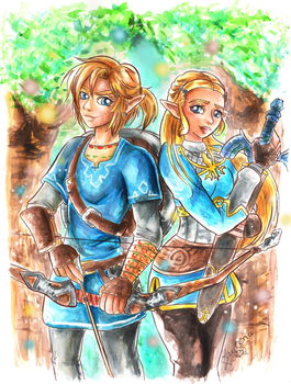 Link and Zelda- Breath of The Wild by Lea-Manga
