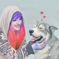 Corrie happy with Dog by SuperPhazed