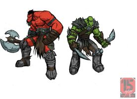 RED AND GREEN ORC SKETCH by Sabrerine911