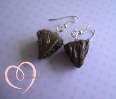 Mini chocolate cake scented earrings by ilikeshiniesfakery