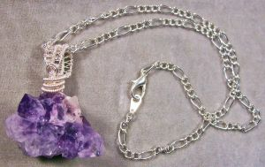 Amethyst Geode Cluster and Silver Pendant by HeatherJordanJewelry