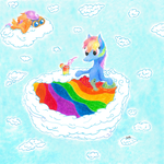 If your throw a blue pony into a rainbow bath... by Pony-from-Everfree