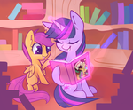 Scootaloo and Twilight Sparkle by Hollulu
