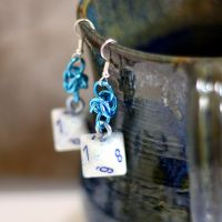 White and Light Blue d8 Earrings by Utopia-Armoury