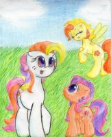 Sunny Daze, Scootaloo and Zipzee by TastyPony