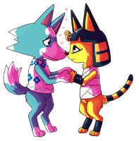 Skye And Ankha by fox-song