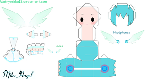 Miku Hatsune Angel Papercraft by matryoshka12