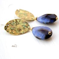 Drop Earrings with Midnight Blue Cracked Agate by IoannaEvans