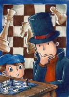 LAYTON SOLVING A CHESS PUZZLE by SANACHI