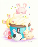 Marshmallow Bunnies by kimchikawaii