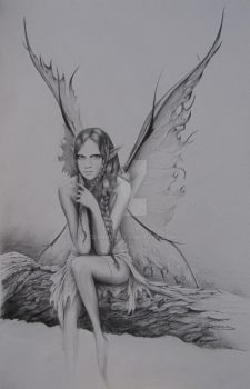 Fairy on branch by Lucbannon