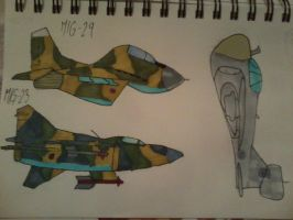 MiG-29, MiG-23 and a Prowler in Croatian camo by ArtistNumber3