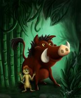 Timon and Pumbaa by Lunalight