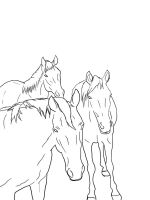 3 Horses Lineart by Iluvbiscuit2