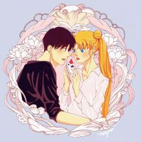 [Commission] Sailor Moon - Usagi and Mamoru by meyoco