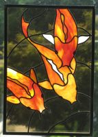 Stained Glass Koi Trio Panel by trilobiteglassworks