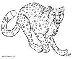 Cheetah Line Art by Greykitty