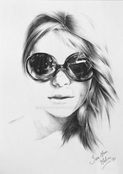 Selfportrait with ballpoint pen by SaraMeloni
