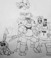 Freddy and Co. fights the puppets. by Singe227