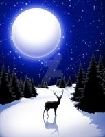 Lonely Deer on Peaceful Snowy Winter Landscape by Bluedarkat