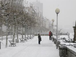 Snow in Dusseldorf by B0mbadil