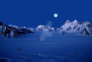 Moon  night in  glacier by RAIS1