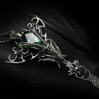 SHANGRANTILH Silver and Green amethyst by LUNARIEEN