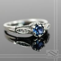 Vintage Style Sapphire and Diamond Engagement Ring by mooredesign13