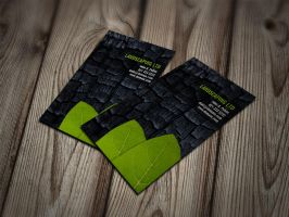 Burnt Wood with Green Leaves Business Cards by es32