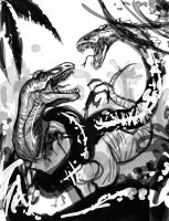Dinosaur vs megasnake WIP by Clearmirror-StillH2O