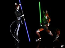 Jedi Fox + Cat by KittieShaufer