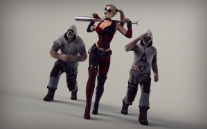 Harley Quinn and Thugs by Brusya