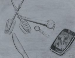 Pencil shading cutlery and phone by Buffy-Heart