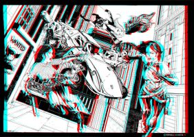 Nick Fury 3D Anaglyph by xmancyclops