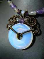 Opalite Hololith Necklace close up by BacktoEarthCreations