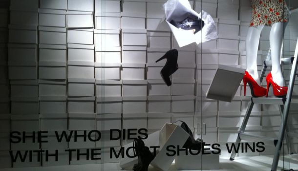 she who dies with the most shoes wins by spotted