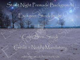 Starlit Night Premade Background by CelticStrm-Stock