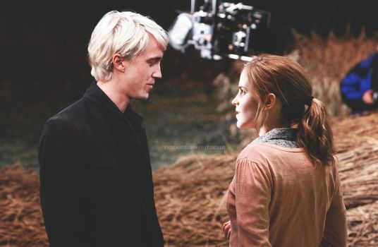 Draco and Hermione on set by EvgeniaSummer
