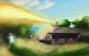 Spike in an M4A3 'Crocodile' by TatterTailArt
