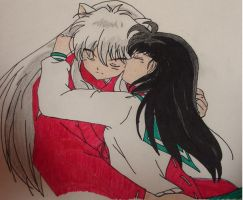 Kagome kissing Inuyasha Color by keepdancing85