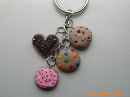 Cookie Keychain - Polymer Clay Charms by alwaysorange