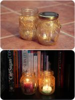 Hand-painted glass jars by purpleniya